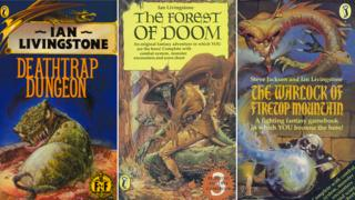 Covers for three Fighting Fantasy books: Deathtrap Dungeon, The Forest of Doom and The Warlock of Firetop Mountain