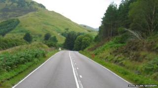 The A82 near Glen Gloy