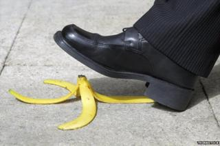 Stepping on a banana skin