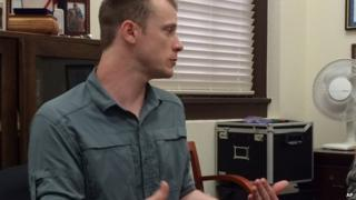 This photo provided by Eugene R Fidell shows Sgt Bowe Bergdahl preparing to be interviewed by Army investigators 6 August 2014