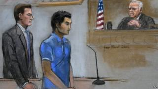 Defendant Dias Kadyrbayev, centre, is depicted in illustration form on 21 August 2014 in federal court in Boston during a hearing where he pleaded guilty before Judge Douglas P. Woodlock, right