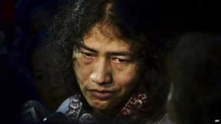 In this August 20, 2014 photo, Irom Sharmila speaks to the media after her release in Imphal, India