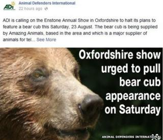 Facebook post by Animal Defenders International
