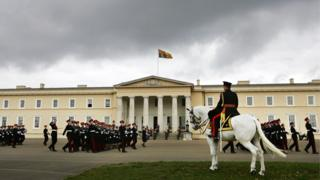 A parade outside the building at Sandhurst
