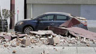Car and rubble