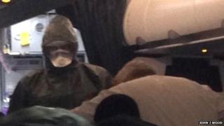 Health worker on plane