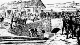 An engraving of the entrance to Park Slip Colliery