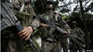 South Korean soldiers take part in an anti-terror drill in Seoul 18 August 2014.