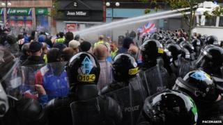 Police at riot in Belfast city centre