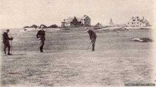 Golfers at Royal Dornoch Golf Club