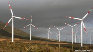 El Arrayan wind farm in Chile in August 2014