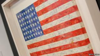 Jasper Johns' 'Flag', 1960-66, on display at Christie's in New York 7 May 2010