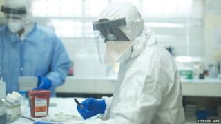 Augustine Goba, laboratory director at Kenema Government Hospital Lassa fever laboratory