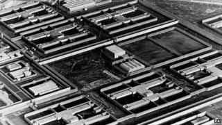 Aerial view of former Maze prison site