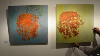 Elephant art on display in India, August 28,2014