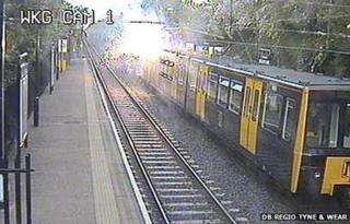 Cable sparks on Metro train at Walkergate Station