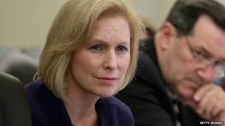 New York Senator Kirsten Gillibrand sits at a Senate committee hearing.