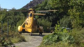 Sea King helicopter at Dorothea Quarry