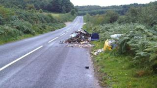 Rubbish dumped in a road