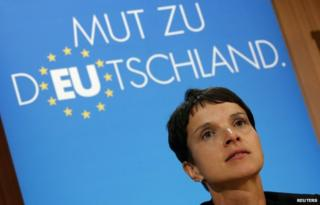 Frauke Petry, lead AfD candidate in Saxony, addresses reporters on 1 September
