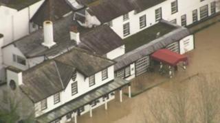 Flooded Burford Bridge Hotel