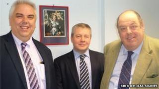 From left to right: Martin Grier, Head of Trains at Southern Railway, David Scorey, Operations Manager at Southern Railway and Sir Nicholas Soames MP