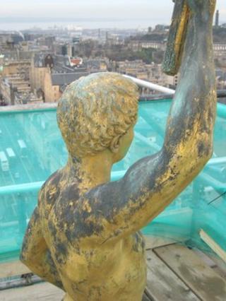 Golden Boy on top of Edinburgh University's Old College