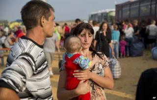 Ukrainian family at a refugee camp in Rostov region (August 2014)