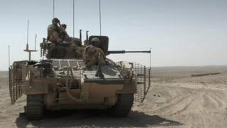 British army Warrior armoured vehicle in Afghanistan