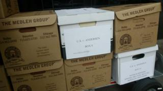 A cart load of documents in the United States versus Arthur Andersen case in 2002
