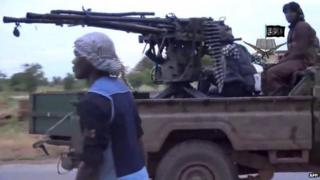 A screen-grab taken on 24 August 2014 from a video released by the Nigerian Islamist extremist group Boko Haram