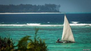 Pirogue sailing in the Indian Ocean off Tanzania