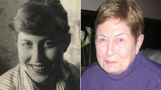 Sheila Parry (nee Davies) at college and today
