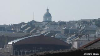 The domed building can be seen through Penzance
