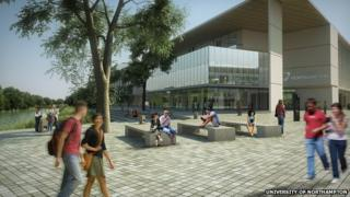 Artist's impression of University of Northampton Waterside campus