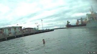 Swimmer in Port of Blyth