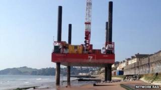 Temporary barge on the beach