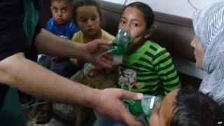 Children in Kfar Zeta, rebel-held village in Hama province