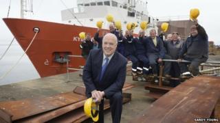 Jim McColl at Ferguson shipyard