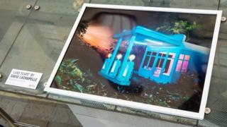 David LaChapelle photograph on bus stop