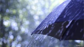 Rain on a black umbrella