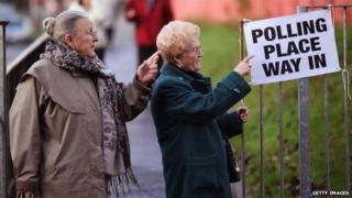 Two women outside a polling station in Glasgow, 2009