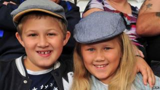 Birmingham City fans dressed as characters from the BBC series Peaky Blinders