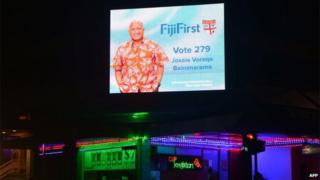 An electronic election banner of Fiji's military strongman Voreqe Bainimarama is seen in Suva