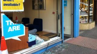 The Mortgage Shop, Bangor smashed