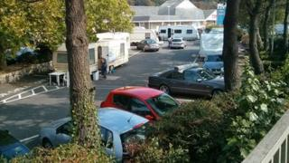 The encampment has set up in one of Truro's main car parks