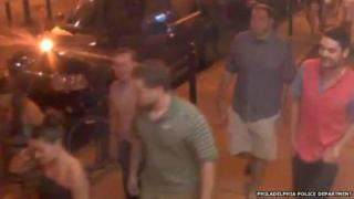 A video still of suspects in a Philadelphia police investigation.
