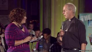 Archbishop of Canterbury being interviewed by BBC Bristol's Lucy Tegg