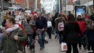 Shopper in crowded Dublin street