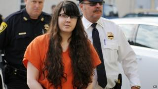 Miranda Barbour enters the Northumberland County courthouse for sentencing Sunbury, Pennsylvania 18 September 2014
